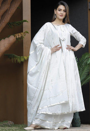 Embellished Cotton Pakistani Suit in Off White