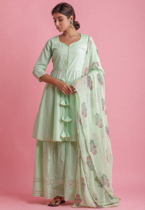 Embellished Cotton Pakistani Suit in Pastel Green