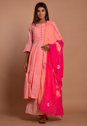 Embellished Cotton Pakistani Suit in Peach