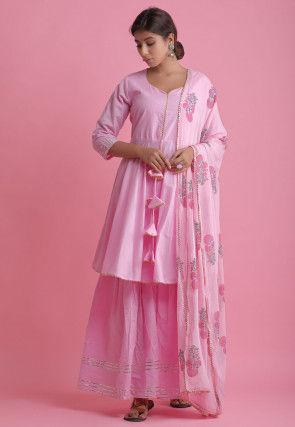 Embellished Cotton Pakistani Suit in Pink