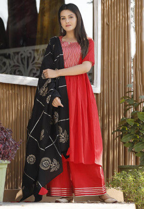 Embellished Cotton Pakistani Suit in Red