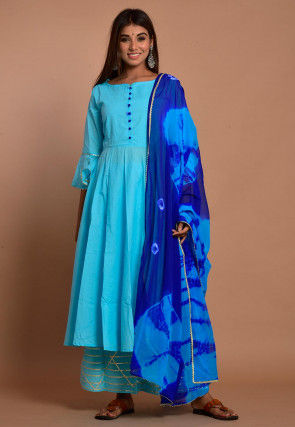 Embellished Cotton Pakistani Suit in Turquoise