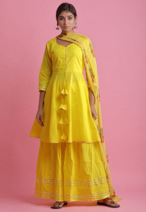 Embellished Cotton Pakistani Suit in Yellow