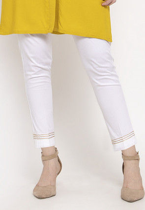Embellished Cotton Pant in White