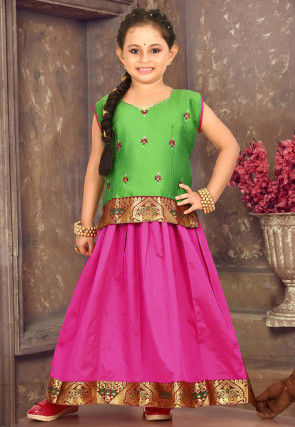 Embellished Cotton Pavda Set in Fuchsia and Green