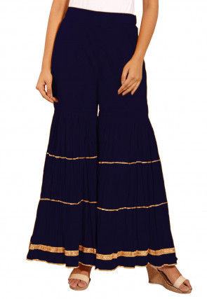 Embellished Cotton Sharara in Navy Blue
