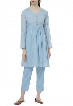 Embellished Cotton Silk A Line Kurti Set in Light Blue