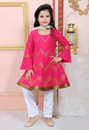 Embellished Cotton Silk Anarkali Suit in Fuchsia