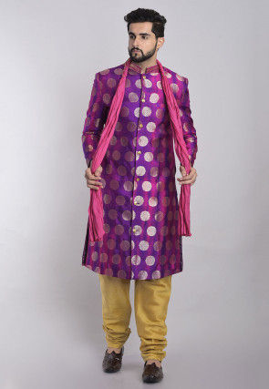 Embellished Cotton Silk Draped Dupatta in Pink