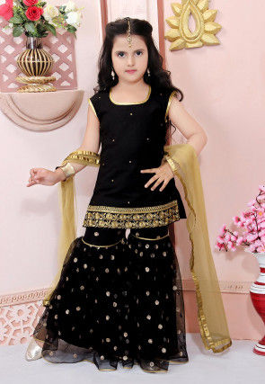 Embellished Cotton Silk Pakistani Suit in Black