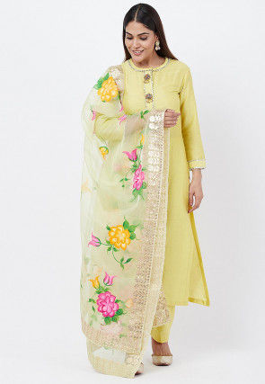 Embellished Cotton Silk Pakistani Suit in Yellow