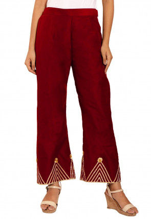 Embellished Cotton Silk Palazzo in Maroon
