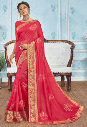 Embellished Cotton Silk Saree in Coral Pink