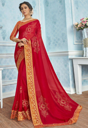Embellished Cotton Silk Saree in Red