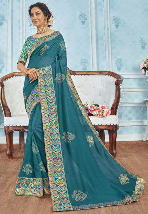 Embellished Cotton Silk Saree in Teal Blue