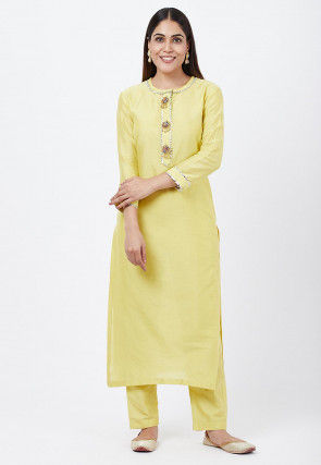 Embellished Cotton Silk Straight Kurta Set in Yellow