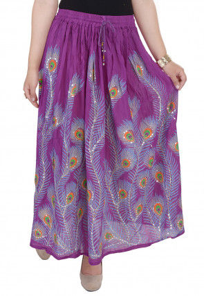 Embellished Cotton Skirt in Purple