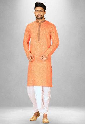Embellished Cotton Slub Dhoti Kurta in Orange