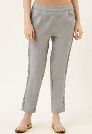 Embellished Cotton Slub Pant in Grey
