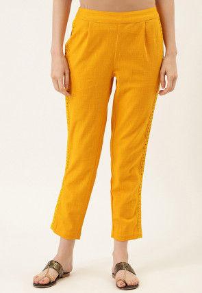 Embellished Cotton Slub Pant in Mustard