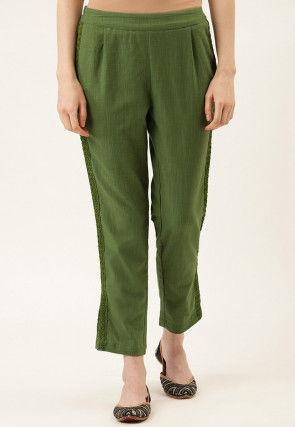 Embellished Cotton Slub Pant in Olive Green