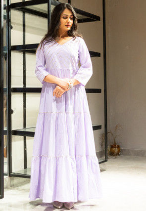 Embellished Cotton Tiered Maxi Dress in Light Purple