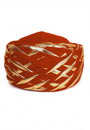Embellished Cotton Turban in Orange