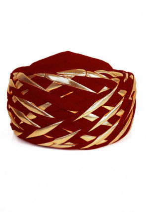 Embellished Cotton Turban in Red