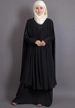 Embellished Crepe and Georgette Abaya in Black