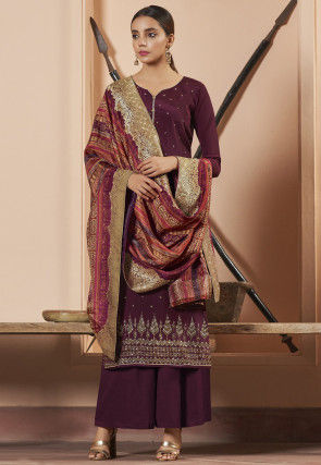 Embellished Crepe Pakistani Suit in Maroon
