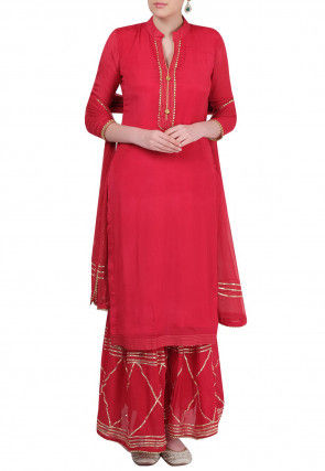 Embellished Crepe Pakistani Suit in Red