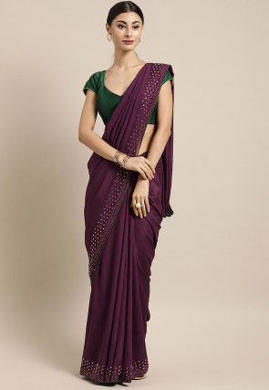 Embellished Crepe Saree in Wine