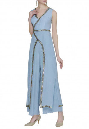 Embellished Crepe Slitted Kurta Set in Light Blue