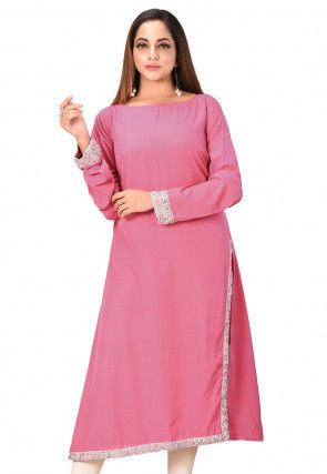 Embellished Crepe Straight Kurta in Pink
