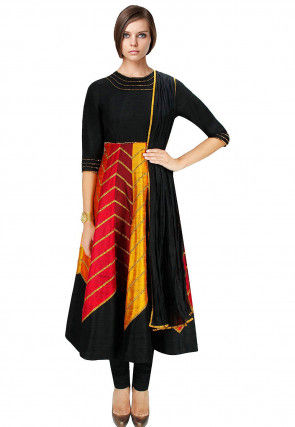 Embellished Dupion Silk Anarkali Suit in Multicolor