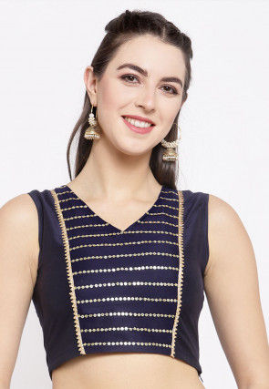 Embellished Dupion Silk Crop Top in Navy Blue