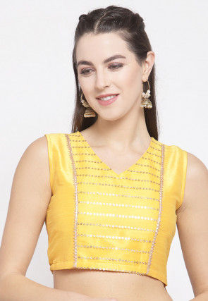 Embellished Dupion Silk Crop Top in Yellow