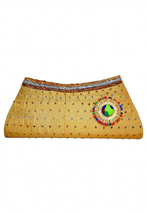 Embellished Dupion Silk Envelope Clutch Bag in Golden