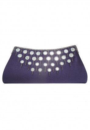Embellished Dupion Silk Envelope Clutch Bag in Purple