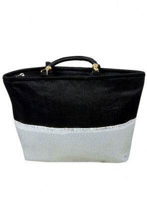 Embellished Dupion Silk Hand Bag in Black and White