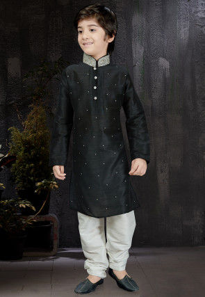 Embellished Dupion Silk Kurta Set in Black