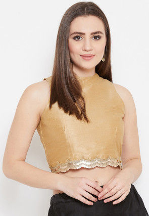 Embellished Dupion Silk Scalloped Hem Crop Top in Beige