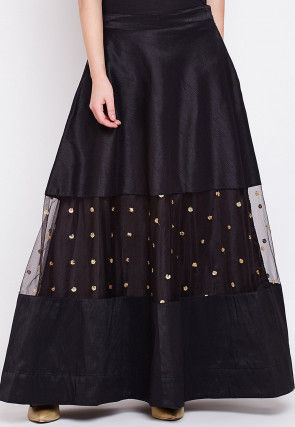Embellished Dupion Silk Skirt in Black