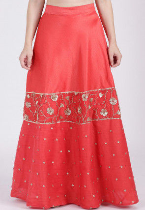 Embellished Dupion Silk Skirt in Coral Red