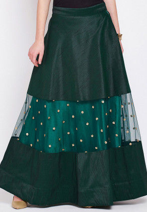 Embellished Dupion Silk Skirt in Teal Green