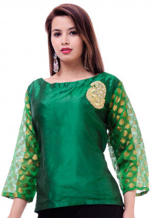 Embellished Dupion Silk Top in Green