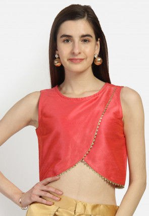 Embellished Dupion Silk Tulip Crop Top in Coral Red