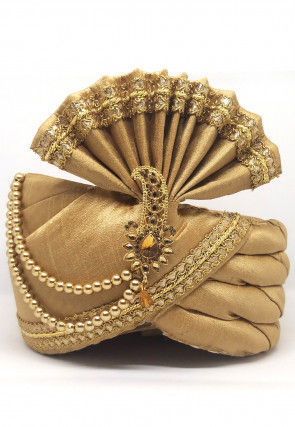 Embellished Dupion Silk Turban in Beige