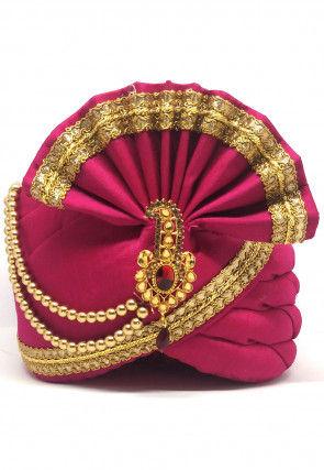 Embellished Dupion Silk Turban in Fuchsia