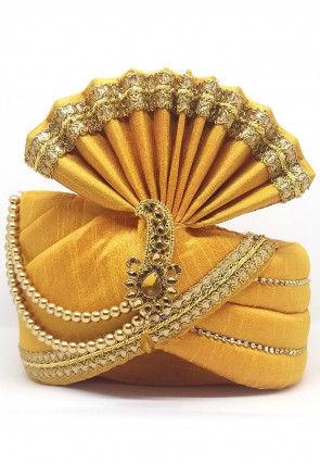 Embellished Dupion Silk Turban in Mustard